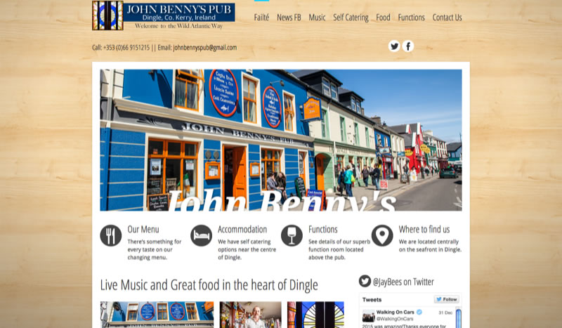 John Benny's Pub Website with MP3 player