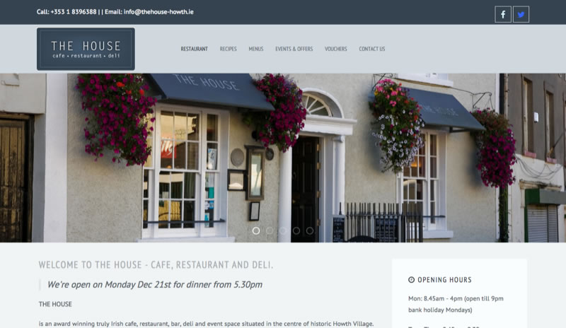 Website design for Irish Restaurant